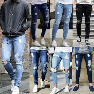 Men-039-s-Skinny-Jeans-Biker-Destroyed-Frayed-Slim-Fit-Denim-Ripped-Pants-Trousers