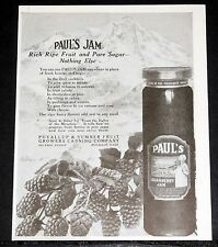1920 OLD MAGAZINE PRINT AD, PAUL'S LOGANBERRY JAM, RICH RIPE FRUIT & PURE SUGAR!