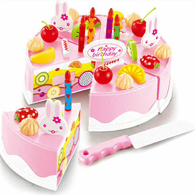 54pcs Pretend Role Play Kitchen Toy Happy Birthday Cake Food Cutting