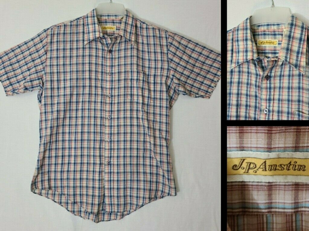 Vtg J P Austin Blue Plaid Poly Cotton Thin Single Stitch Ss Camp Shirt N2 Ebay