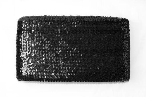 """11 metres × 7.5/"""" Black Sequined Stretch Elastic Trim Craft Wholesale Boob Tube"""