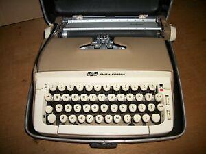 vintage smith corona galaxie typewriter tan portable