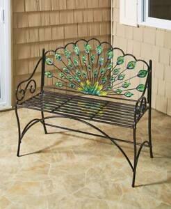Colorful Peacock Garden Bench Outdoor Seat Patio Porch