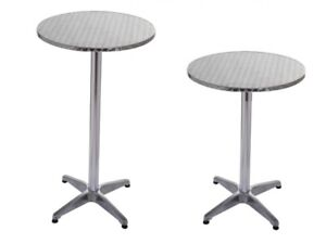 Courageux Table Haute De Bar Table Bistrot Alu / Inox Ø 60cm, Hauteur Reglable 70 & 110 Cm Le Plus Grand Confort