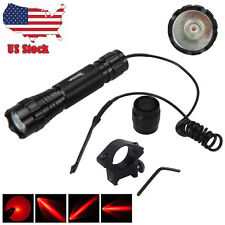 5000Lm XM-L T6 LED Flashlight Torch Mount Rifle Gun Rail+Pressure Switch+Switch