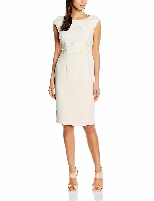 New Jacques Vert dress 22 24 12 Ivory Cream 3-d embellished Crepe cap rrp