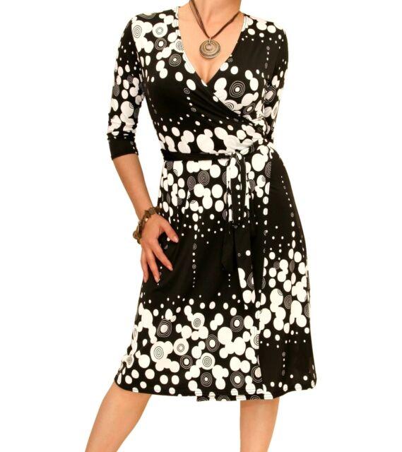Blue Banana - New Black and White V Neck Print Wrap Dress