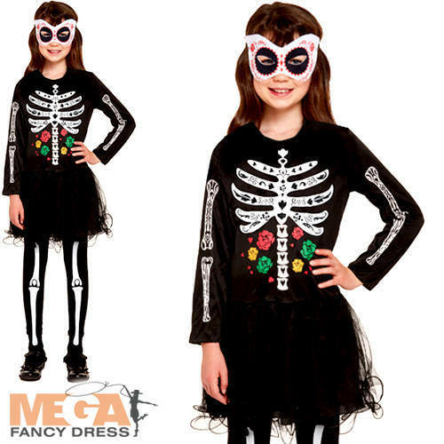 Day of the Dead Girls Halloween Fancy Dress Mexican Skeleton Childs Kids Costume