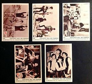 1966 SCANLENS ORIGINAL MONKEES B&W CARDS - LOT 4 FIVE CARDS IN NM COND