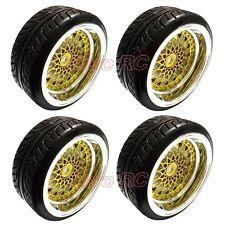 4X 1/10 RC Car On Road 26MM Wheel Rim Golden & Hard Drift Tyre, Tires 6mm Offset