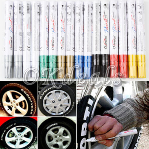 Neu Permanent Wasserdicht Lackmarker Farbe Marker Stift Auto Reifen Metall DE