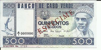 UNC 5RW 16FEB CAPE VERDE  500 ESCUDOS 1992  P 64  SPECIMEN