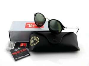 78acd812294 NEW Genuine RAY-BAN ROUND FLECK Black Silver Green Classic ...