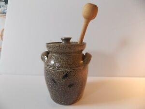 Owens pottery salt glazed honey jar circa 1980s. Seagrove NC.