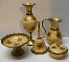 Sunflowers Brass Vase Pitcher Bell Trinket Dish Candle 6 pc Set India Vintage