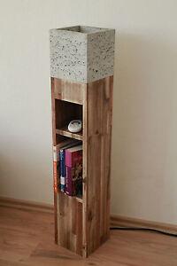 Berühmt Stehlampe Standleuchte Design Stehleuchte Beton Holz Standlampe @RM_13