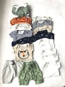 Baby Boy Clothes Lot 18 Pcs 0 3 Months Gerber Onesies Towel Shorts Ebay