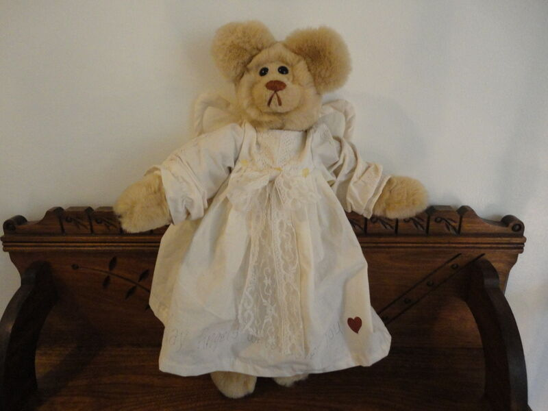 Handmade Artist One of a Kind ANGEL BEAR with Wings 20 inch Painted