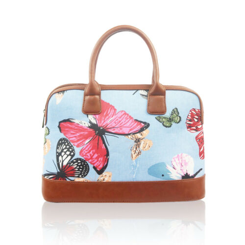 Large Ladies Hand Held Tote Bag Handbag Summer Holiday Canvas Faux Leather