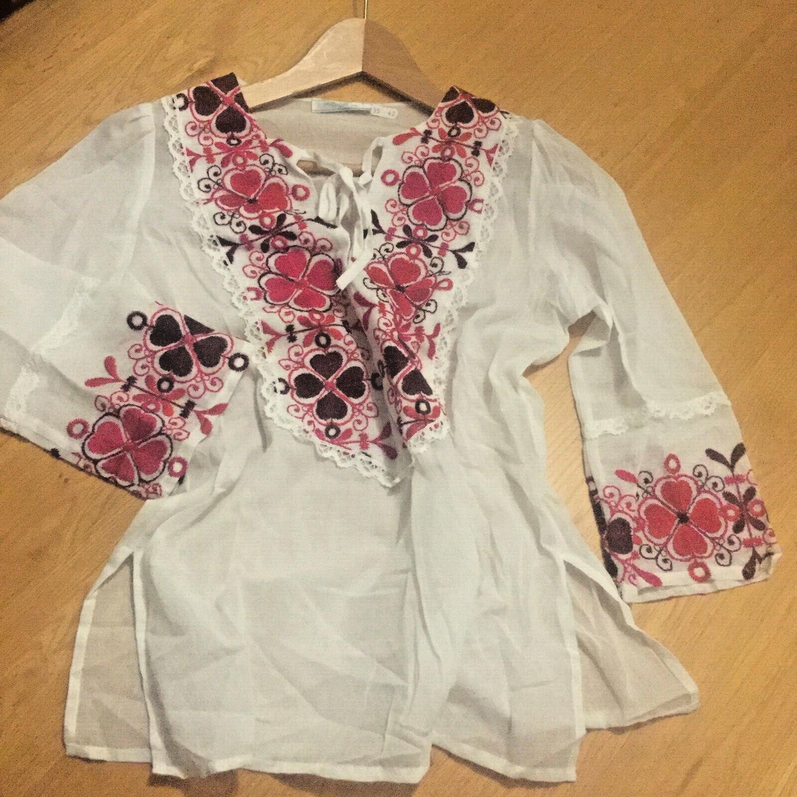 Maje Embroiderot Tunique Kaftan Shirt Blouse Dodo Kin
