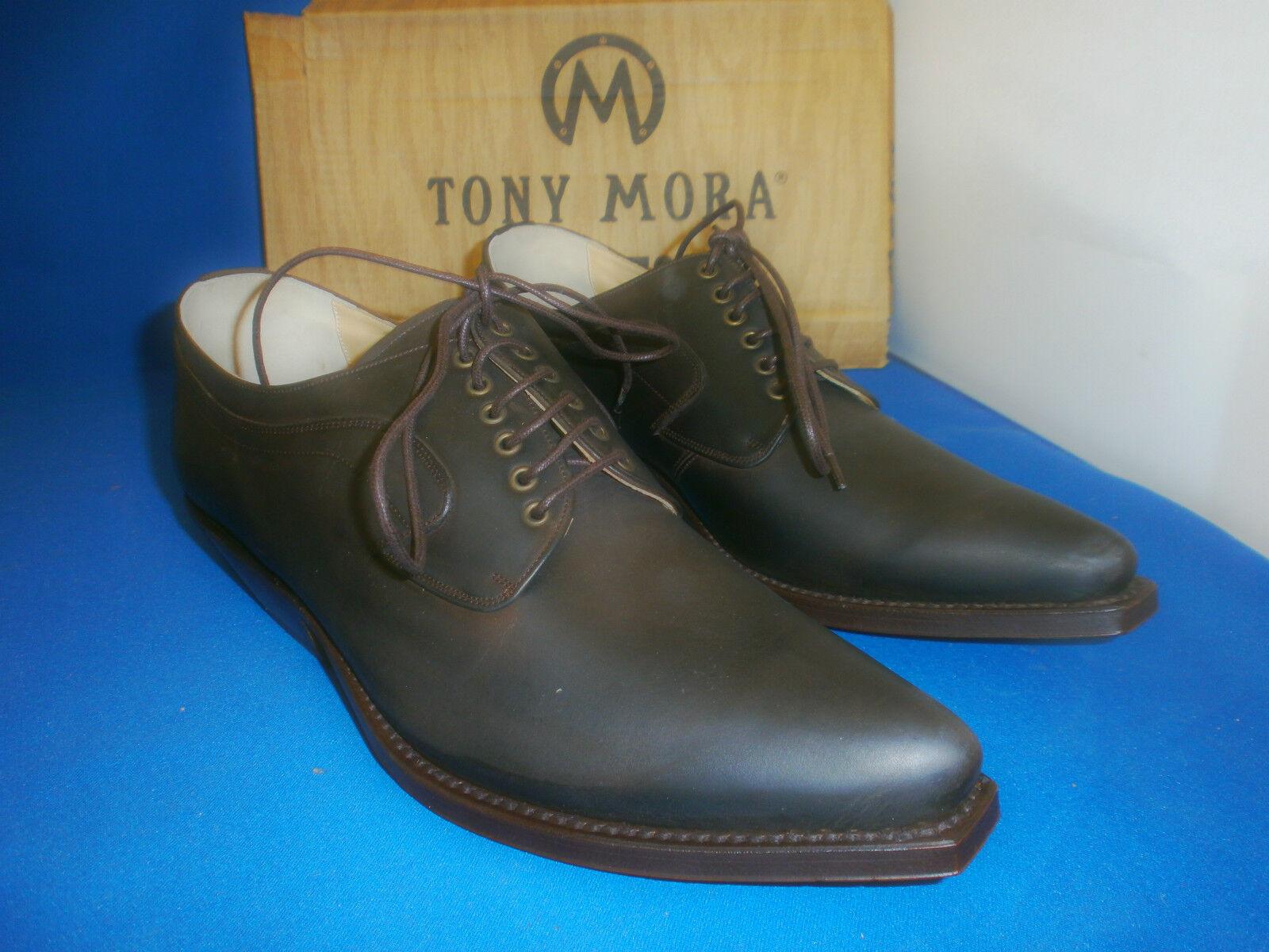 tony mora boots  schuh halbschuh handmade mokka  leder neu  gr. 45
