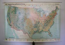 Schulwandkarte Wandkarte USA Vegetation Bodennutzung Bergbau Industrie 157x108cm