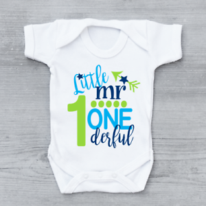 Little-Mr-One-Derful-Cute-1st-First-Birthday-Boys-Baby-Grow-Bodysuit