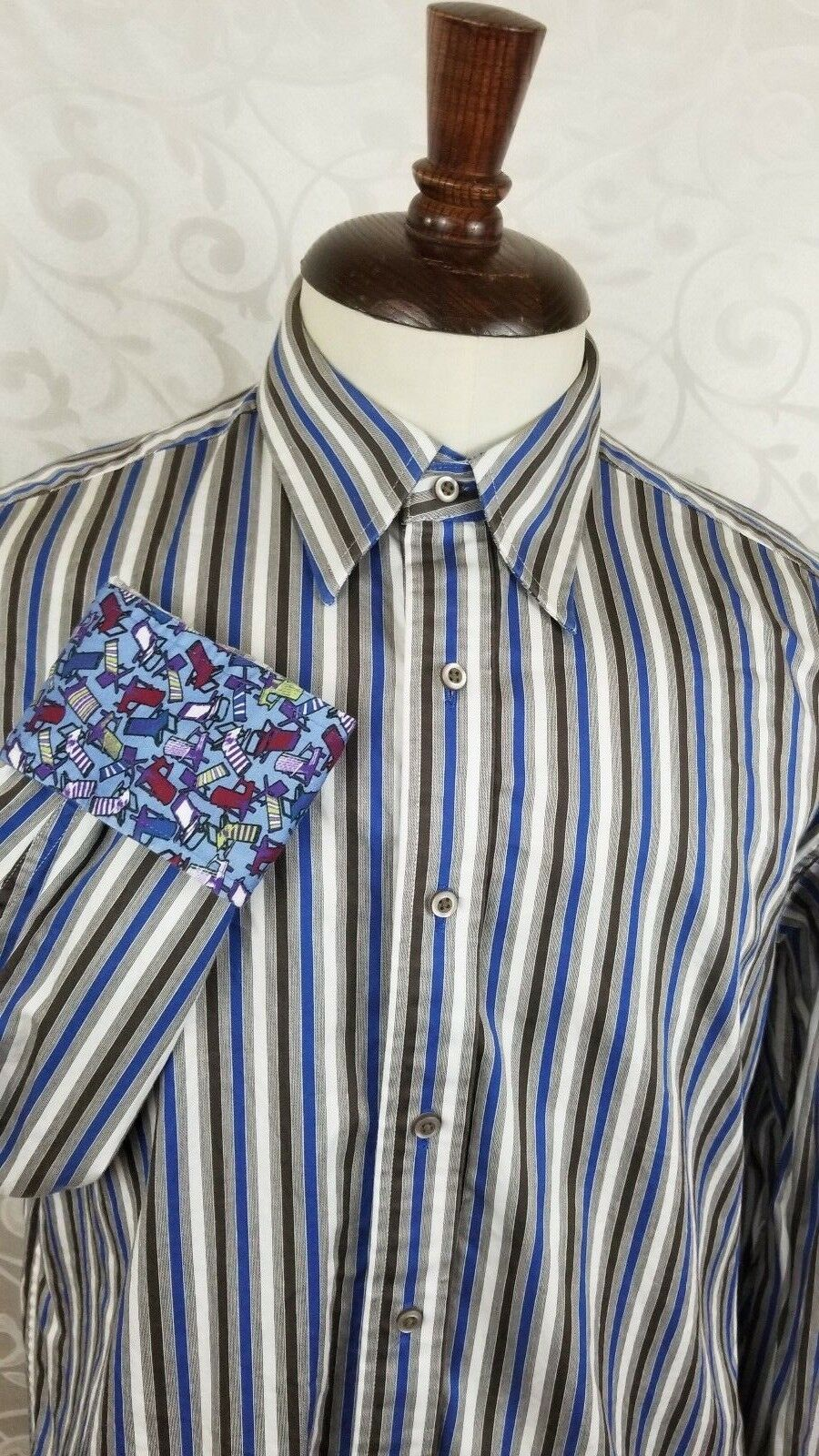 Robert Graham Men's Button Front Shirt Large Striped Beach Chairs Flip Cuff EUC