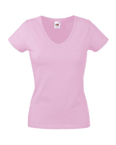 Fruit Of The Loom Femme T-shirt V-neck lady fit coton lycra Plain Top Women