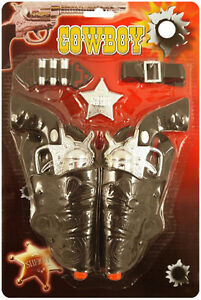 Cowboy-Click-Gun-Toy-Play-Set-Wild-West-Fancy-Dress-Western-Holster-Sheriff-Role