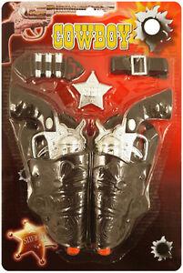 Cowboy-Click-Gun-Toy-Play-Set-Wild-West-Fancy-Dress-Western-Holster-Sheriff-Role