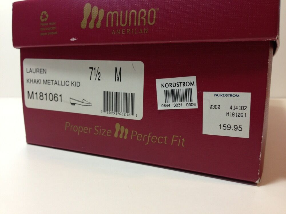 Munro American 7.5  Bronze Metallic Khaki LAUREN Box Box Box 513efb