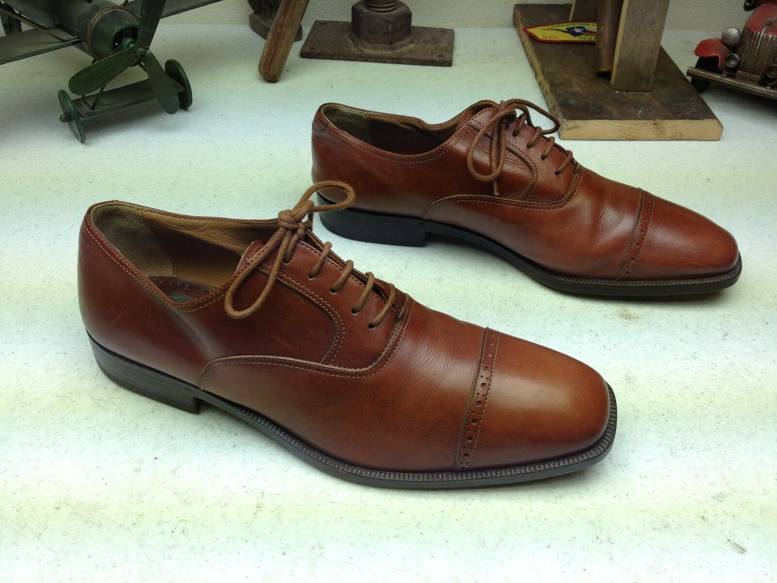 CALDERONI FORMAL BROWN LEATHER LACE UP BUSINESS DRESS FORMAL CALDERONI SHOES SIZE 41.5 369575
