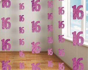 16-anos-16th-Cumpleanos-Rosa-Brillante-Fiesta-Decoracion-Colgante