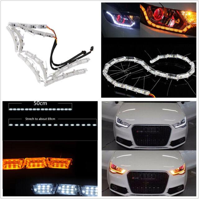 2 X LED Switchback Dual Colors Strip Light DRL Car Flexible Flowing Signal Lamps