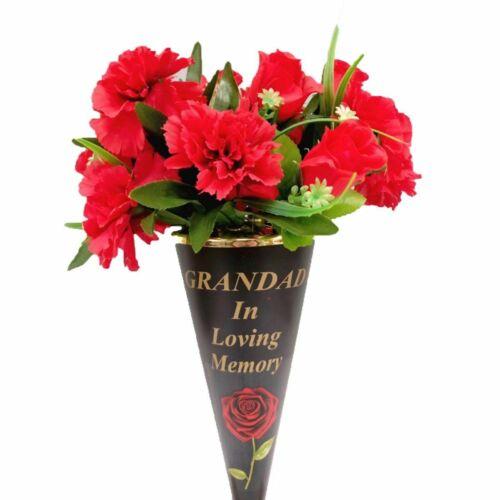 Memorial Cone Red Rose Vases With Black Lid Flower Holder Grave Spike Plant Pots