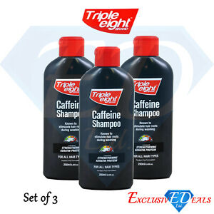 3-x-Triple-Eight-Caffeine-Shampoo-Keratin-Protein-Hair-Growth-250ml-Bottle