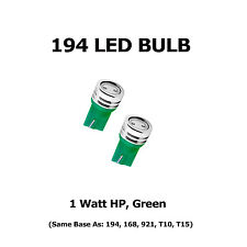 (2) 194 LED Bulbs - HP 1 Watt, Green - Same Base as 168, 921, T10, T15