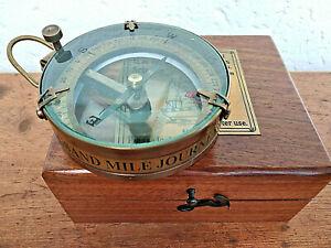 Boussole-marine-du-capitaine-Spencer-London-verre-bombe-et-boite-bois