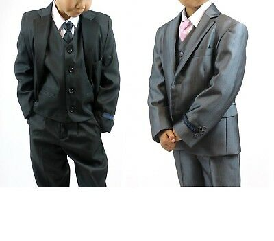 Baby Suit Pink Waistcoat with Grey Trousers Jacket 5pc Fitted pageboy formal