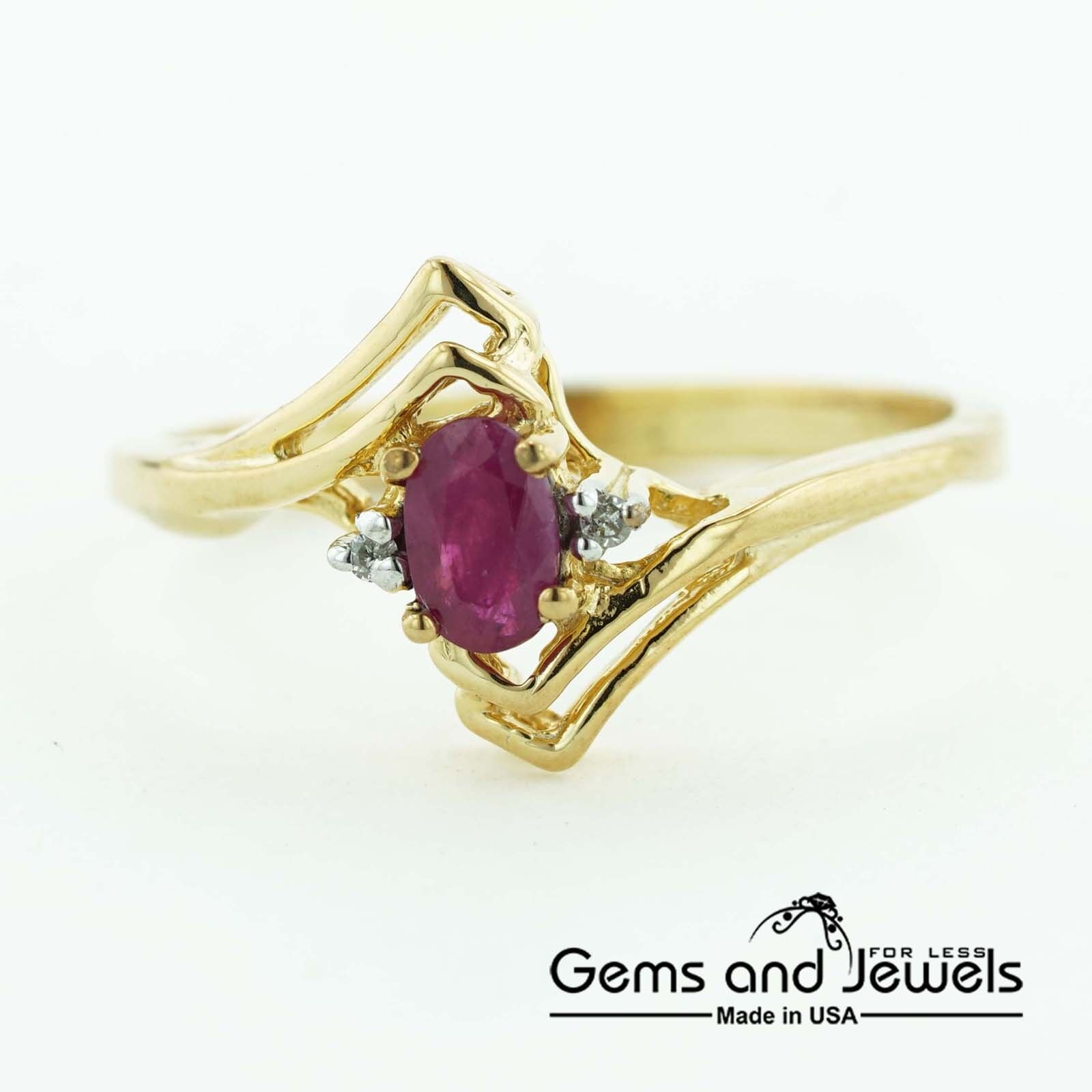 1227 Natural Ruby and Solid 14K Yellow gold Women's Ring
