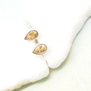 Citrin-gelb-Tropfen-Design-Ohrringe-Stecker-Ohrstecker-925-Sterling-Silber-neu