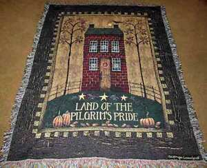 Land Of The Pilgrim's Pride Folk Art House Tapestry Afghan Throw