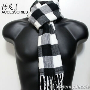 Black Gray White Checked Soft Cozy Cashmere Feel Scarf*100%Acrylic For Unisex