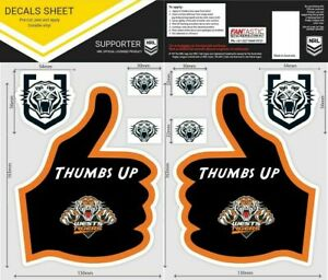 NRL Wests Tigers Thumbs Up Decal Sticker Car Tattoo iTag