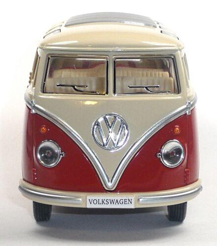 17,5cm Neuware von KINSMART Samba 1:24 rot Modellauto ca VW Bus Bulli T1