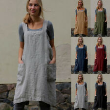 Women's Cotton Linen Bib Apron Sleeveless Pinafore Home Cooking Florist Dress