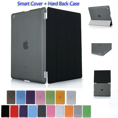 Pu Leather Smart Cover and Hard Back Case for Apple iPad 4 3 2