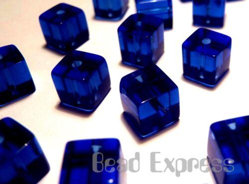 50pc Glass Crystal Cube Beads Royal Blue  6mm Deep Cobalt BC6006