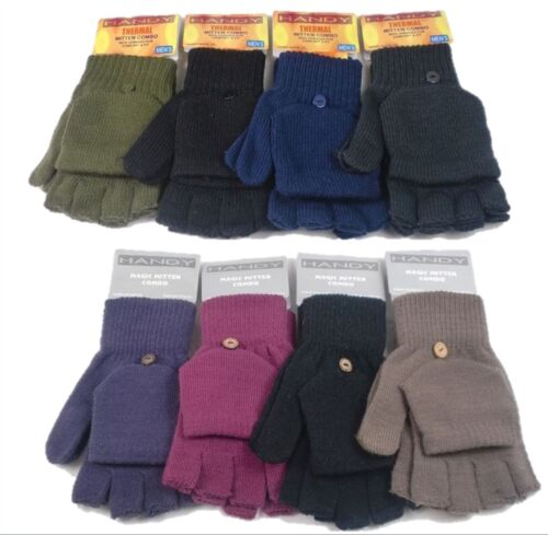 Mens /& Ladies Fingerless Mittens Gloves Combo by Handy Winter Warm